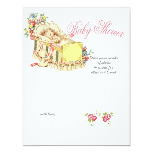 Vintage Baby Shower Baby inside Crib Advice Card