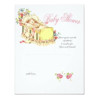 Vintage Baby Shower Baby inside Crib Advice Card