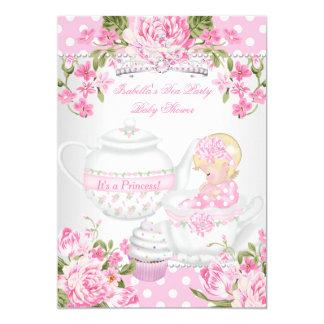 Vintage Baby Shower Blonde Girl Pink Tea Party Card