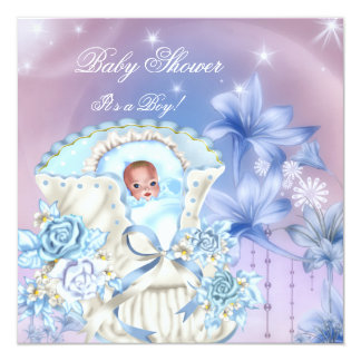 "Vintage Baby Shower Boy Baby Blue Magical 5.25"" Square Invitation Card"
