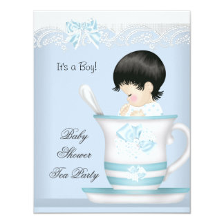 Vintage Baby Shower Boy Blue Baby in Teacup 4.25x5.5 Paper Invitation Card