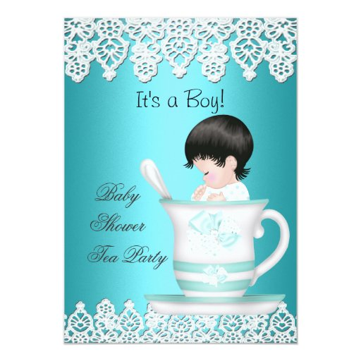 Baby Boy Gifts Nz : Vintage baby shower boy teal teacup lace card zazzle