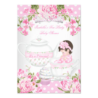 Vintage Baby Shower Brunette Girl Pink Tea Party Card