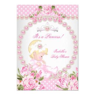 Vintage Baby Shower Cute Girl Pink Pearl Rose B Card