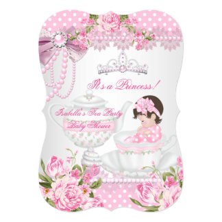 Vintage Baby Shower Cute Girl Pink Rose Tea Party Card
