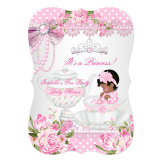Vintage Baby Shower Cute Girl Pink Rose Tea Party 5x7 Paper Invitation Card