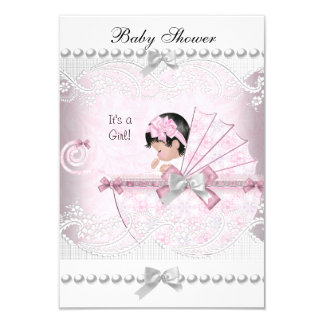 Vintage Baby Shower Cute Girl Pretty Pink 3.5x5 Paper Invitation Card