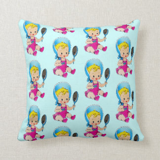 Vintage Baby Shower for Boy Throw Pillow