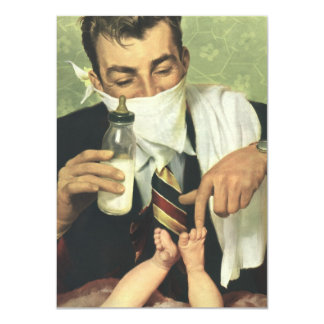 Vintage Baby Shower for Men! A Dadchelor Party! 4.5x6.25 Paper Invitation Card