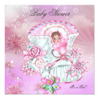 "Vintage Baby Shower Girl Baby Hot Pink Magical 5.25"" Square Invitation Card"
