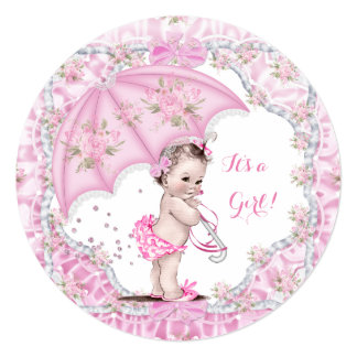 Vintage Baby Shower Girl Flowers Pink Umbrella 5.25x5.25 Square Paper Invitation Card