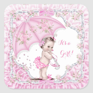 Vintage Baby Shower Girl Flowers Pink Umbrella Square Sticker