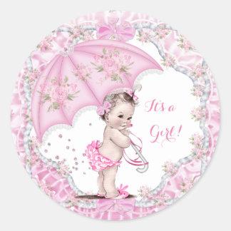 Vintage Baby Shower Girl Flowers Pink Umbrella Classic Round Sticker
