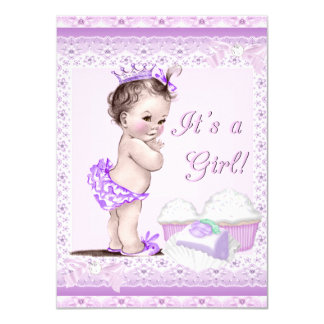 Vintage Baby Shower Girl Lavender Lace Cupcakes 4.5x6.25 Paper Invitation Card