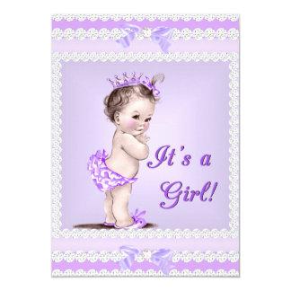 Vintage Baby Shower Girl Lilac Lavender Purple Card