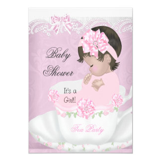 Vintage Baby Shower Girl Pink Baby in Teacup