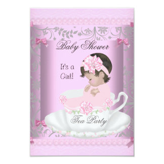 Vintage Baby Shower Girl Pink Baby in Teacup 3 Card
