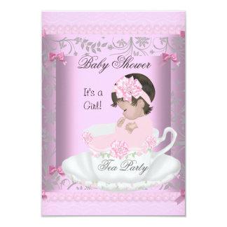 Vintage Baby Shower Girl Pink Baby in Teacup 3 Custom Invite