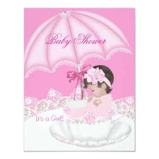 Vintage Baby Shower Girl Pink Baby in Teacup 4.25x5.5 Paper Invitation Card