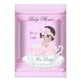 Vintage Baby Shower Girl Pink Baby in Teacup 4 Personalized Invite