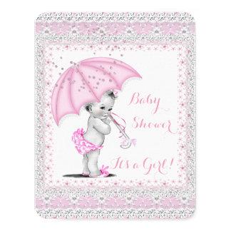 Vintage Baby Shower Girl Pink Sprinkle Umbrella Card