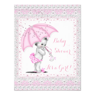 Vintage Baby Shower Girl Pink Sprinkle Umbrella Card