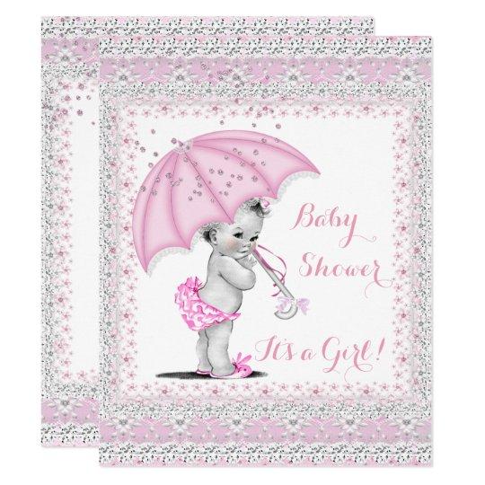 Vintage Baby Shower Girl Pink Sprinkle Umbrella Invitation Zazzle