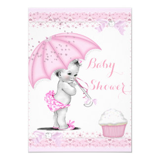 Vintage Baby Shower Girl Pink Umbrella Cupcake 5x7 Paper Invitation Card