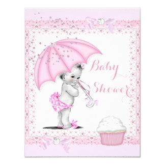 Vintage Baby Shower Girl Pink Umbrella Cupcake Card