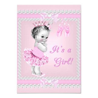 Vintage Baby Shower Girl Pretty Pink Ballerina Card