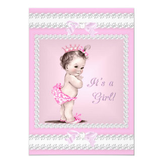 Vintage Baby Shower Girl Pretty Pink Card