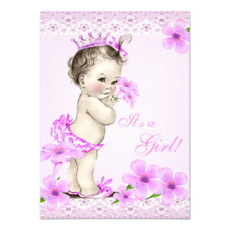 Vintage Baby Shower Girl Pretty Pink Floral Card