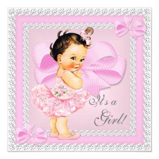 Vintage Baby Shower Girl Pretty Pink Tutu Brunette 5.25x5.25 Square Paper Invitation Card
