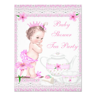 Vintage Baby Shower Girl Princess Pink Tea Party 4.25x5.5 Paper Invitation Card