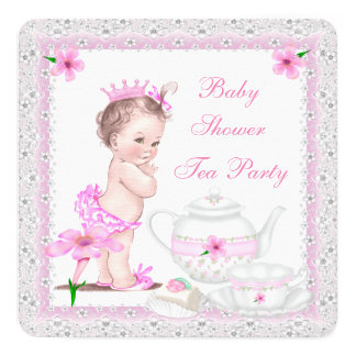 Vintage Baby Shower Girl Princess Pink Tea Party 5.25x5.25 Square Paper Invitation Card