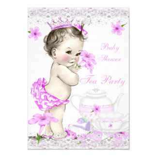 Vintage Baby Shower Girl Princess Tea Party 5x7 Paper Invitation Card