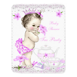 Vintage Baby Shower Girl Princess Tea Party 4.25x5.5 Paper Invitation Card