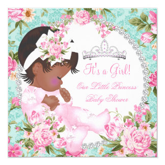 Vintage Baby Shower Girl Rose Floral Pink Teal Card
