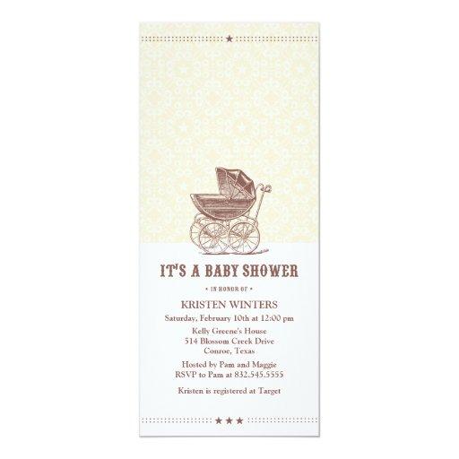 "Vintage baby shower invitation 4"" x 9.25"" invitation card"
