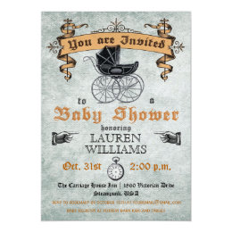 Halloween baby shower invitations announcements zazzle vintage baby shower invitation filmwisefo Image collections