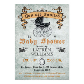 "Vintage Baby Shower Invitation 5"" X 7"" Invitation Card"
