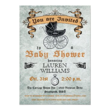 Halloween Themed Vintage Baby Shower Invitation