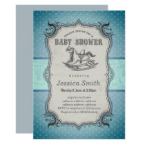 Vintage BABY SHOWER invitation - Rocking Horse