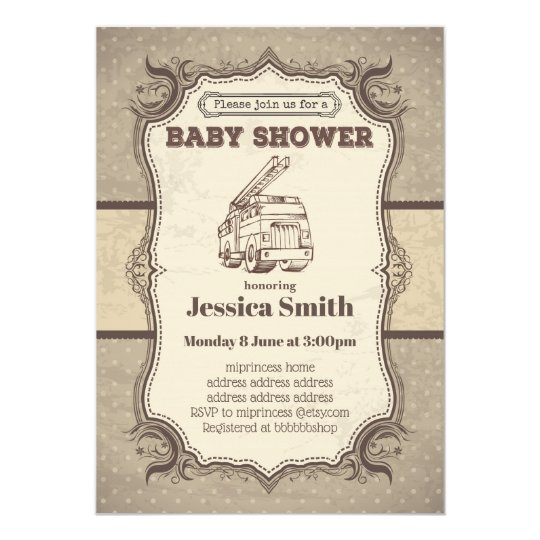 Vintage baby shower invitation toy fire truck zazzle vintage baby shower invitation toy fire truck filmwisefo