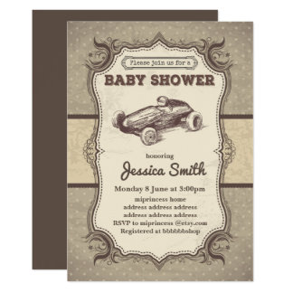 Vintage BABY SHOWER invitation - toy race car