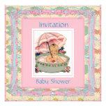 Vintage Baby Shower Pink Blue Custom Invites
