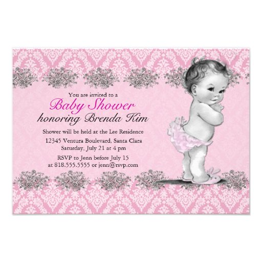Vintage Baby Shower Pink Invitation