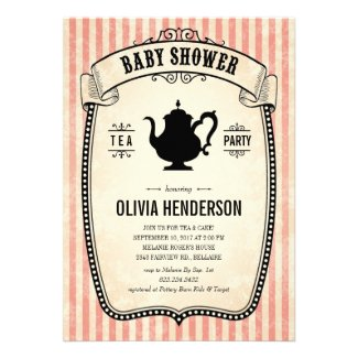 Vintage Baby Shower Tea Party Invitations