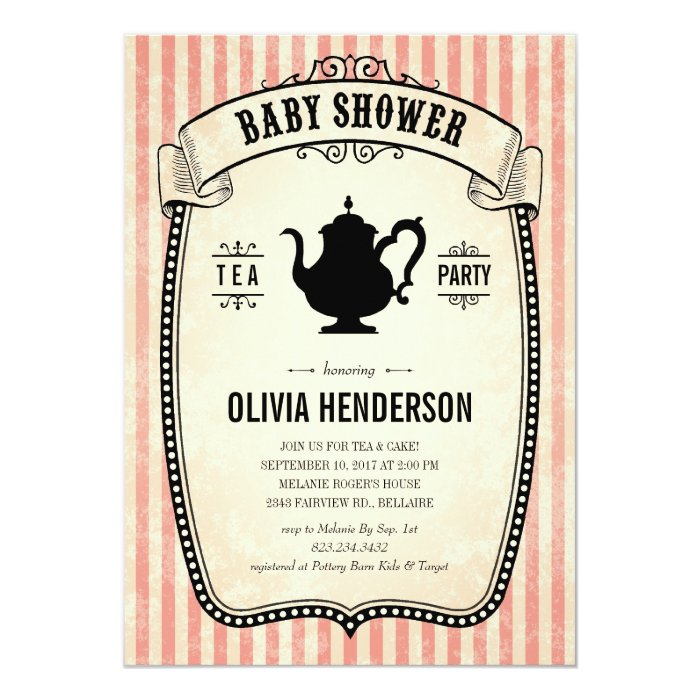vintage baby shower tea party invitations zazzle