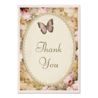 "Vintage Baby Shower Thank You Roses & Butterfly 3.5"" X 5"" Invitation Card"